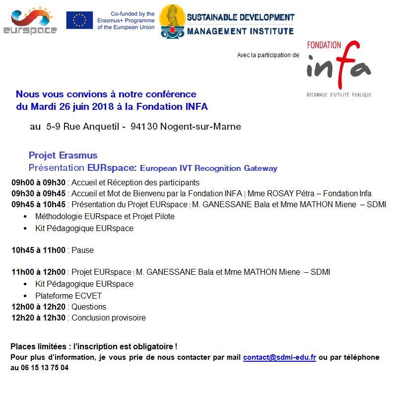 180501 - SDMI -Conférence du Mardi 26 juin 2018 à la Fondation INFA à Nogent sur Marne